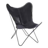 J-Line Vlinderstoel 'Marceau' leder, kleur zwart