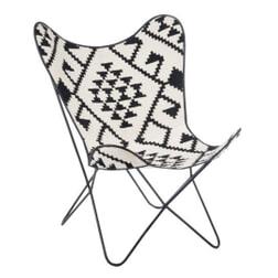 J-Line Vlinderstoel 'Monicque' kleur zwart/wit