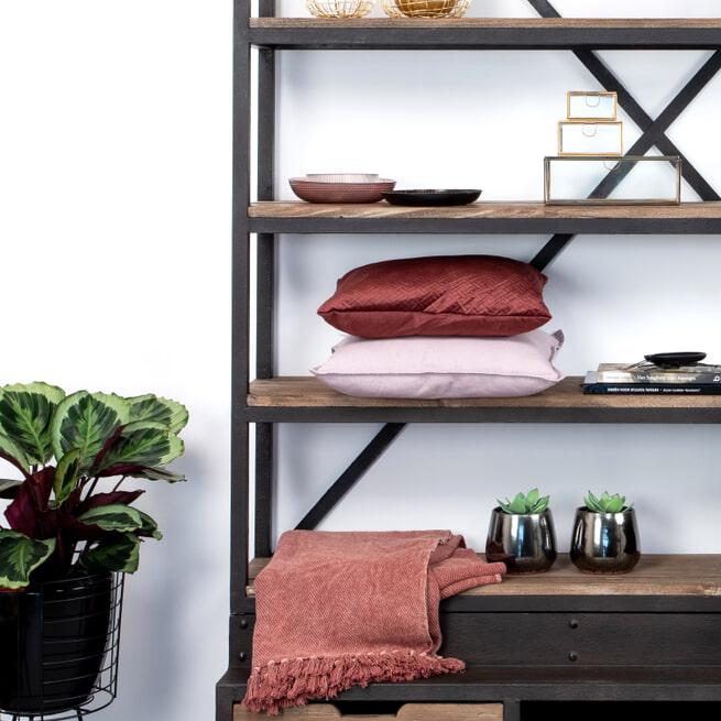 Sohome Industriele Wandkast / Boekenkast 'Juliën' met ladder