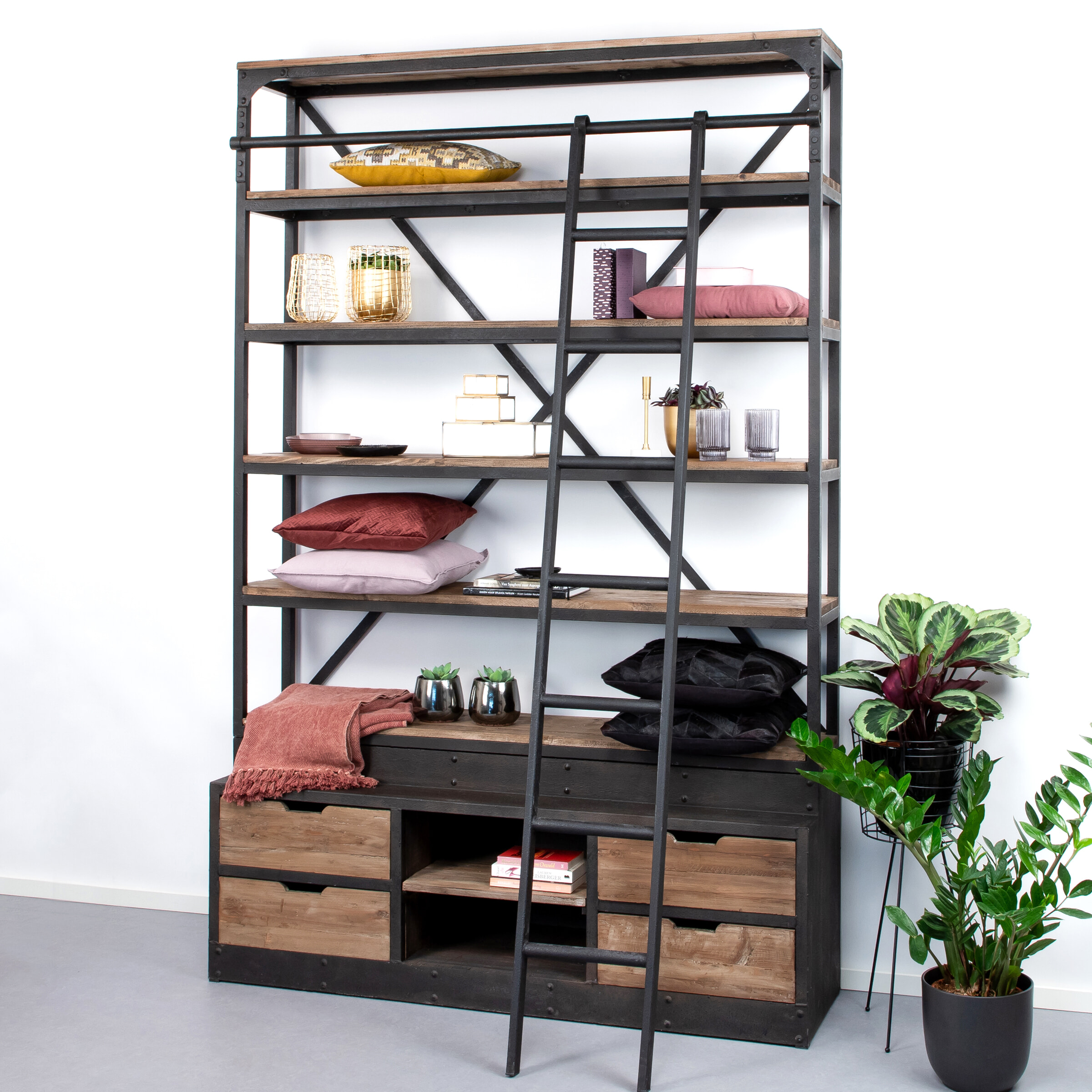 Sohome Industriele Wandkast - Boekenkast 'Juliën' met ladder