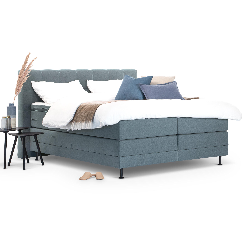 Sohome Boxspring 'Louis'-Grijs-blauw-140 x 200 cm-Elektrisch verstelbaar