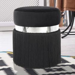 Kayoom Poef 'Rebecca' Velvet met franjes, 38cm, kleur zwart