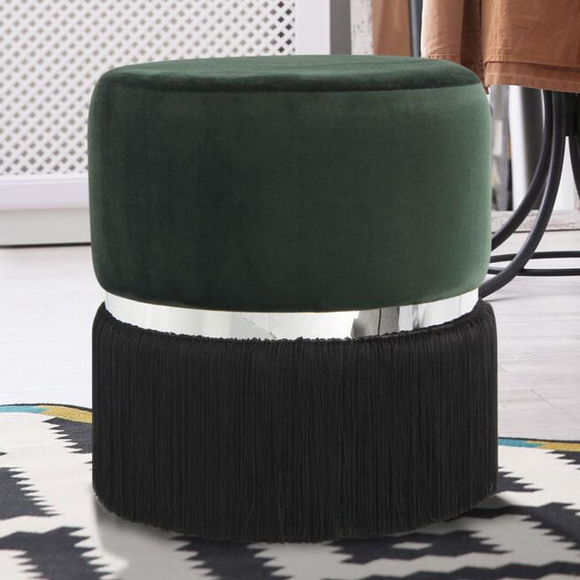 Kayoom Poef 'Rebecca' Velvet met franjes, 41cm, kleur groen / zwart