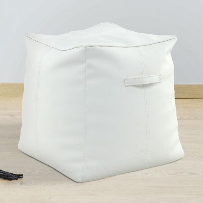 Kayoom Poef 'Travis' 45 x 45cm, kleur wit