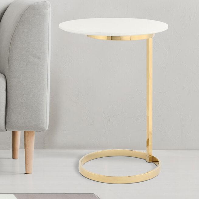 Kayoom Bijzettafel 'Casimir' 40cm, kleur goud / wit