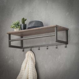 Kapstok 'Jeanne' 80cm, kleur greywash