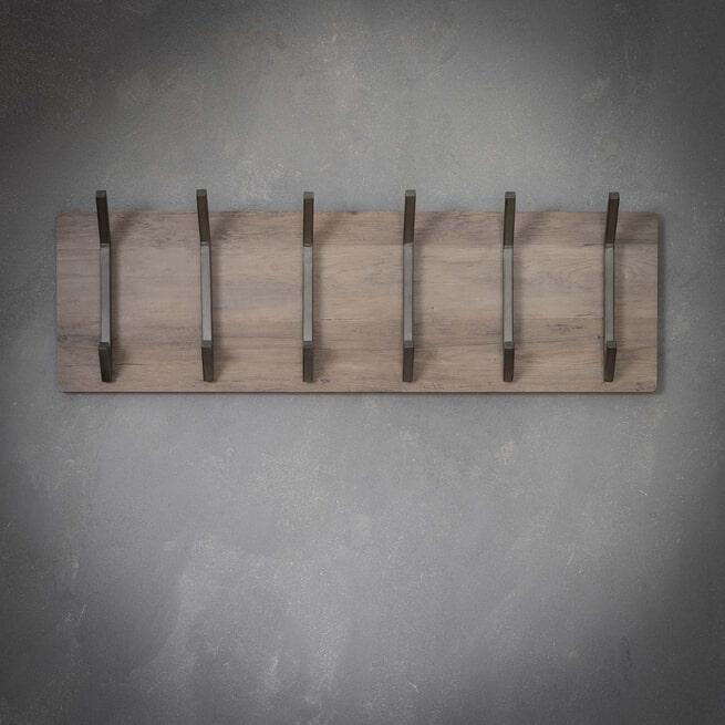 Kapstok 'Kieran' 90cm, met 2 x 6 haken, kleur Greywash