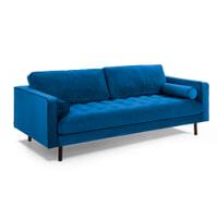 Kave Home Bank 'Debra' 3-zits, Velvet, kleur Donkerblauw