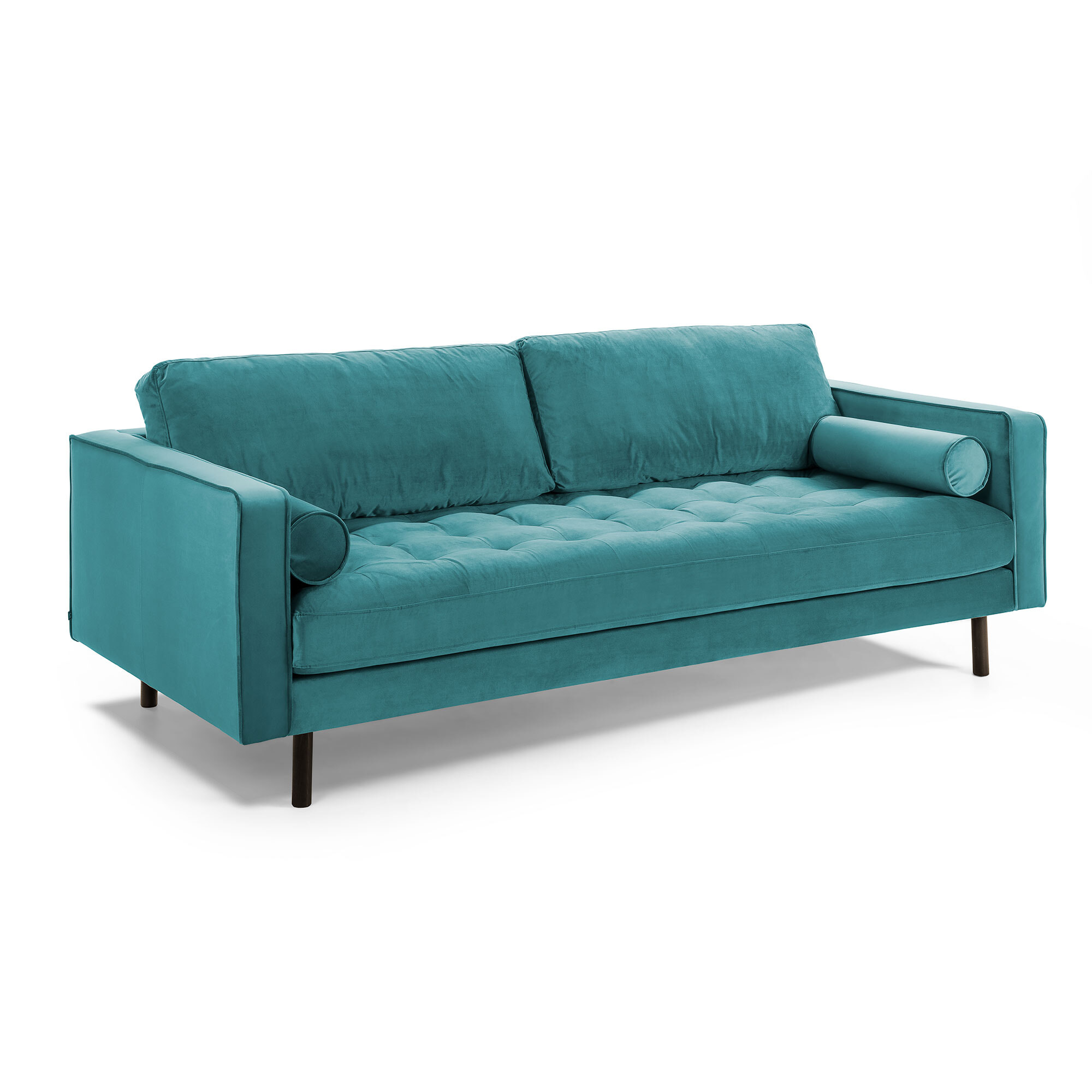 Kave Home Bank 'Debra' 3-zits, Velvet, kleur Turquoise