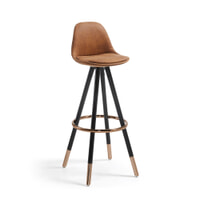 Kave Home barkruk 'Slad Copper' zithoogte 75cm, kleur cognac