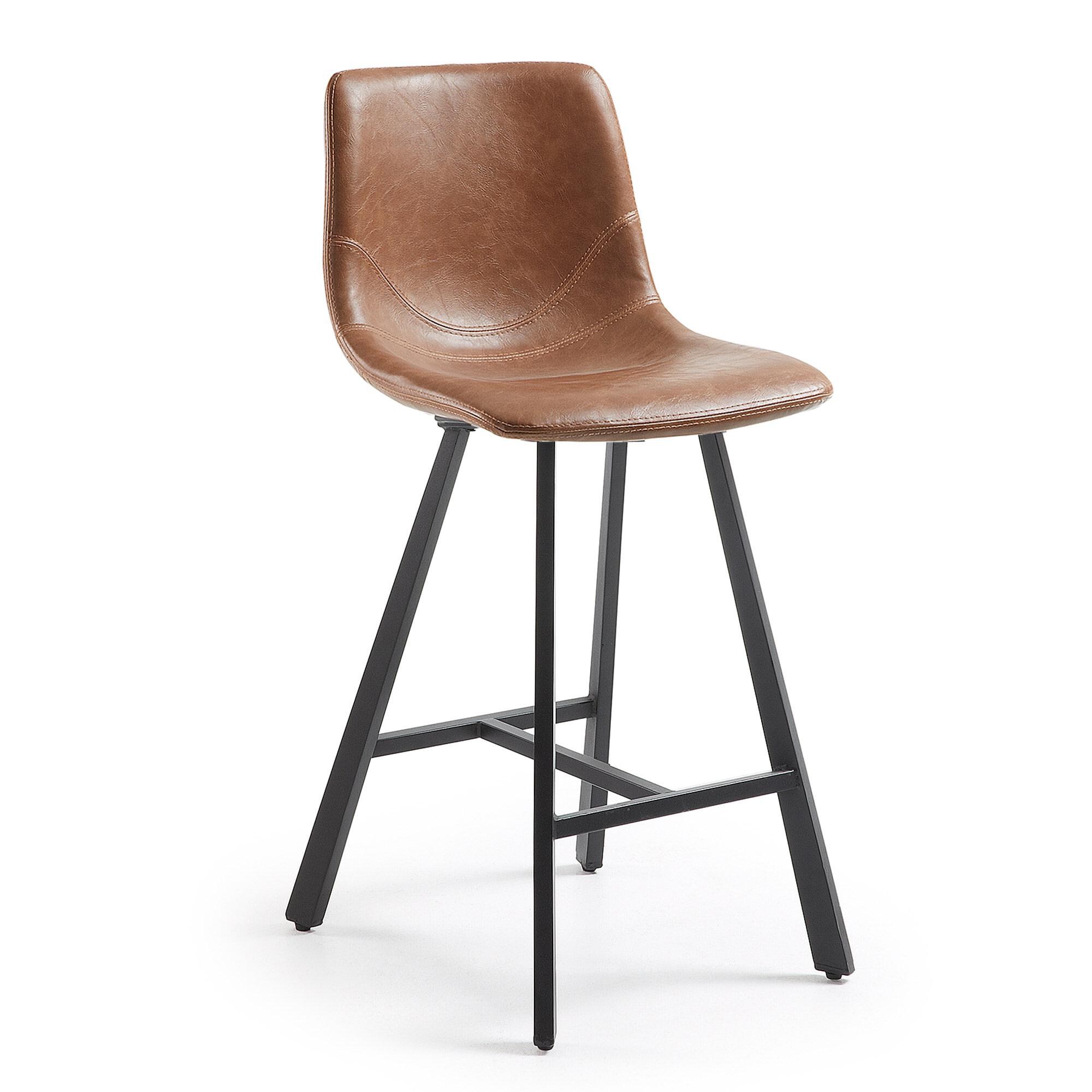 Kave Home Barstoel 'Trap' (zithoogte 61cm), kleur cognac Zitmeubelen | Barkrukken & Barstoelen vergelijken doe je het voordeligst hier bij Meubelpartner