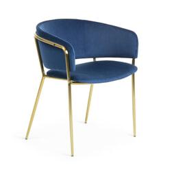 Kave Home Eetkamerstoel 'Runnie Gold' Velvet, kleur Donkerblauw