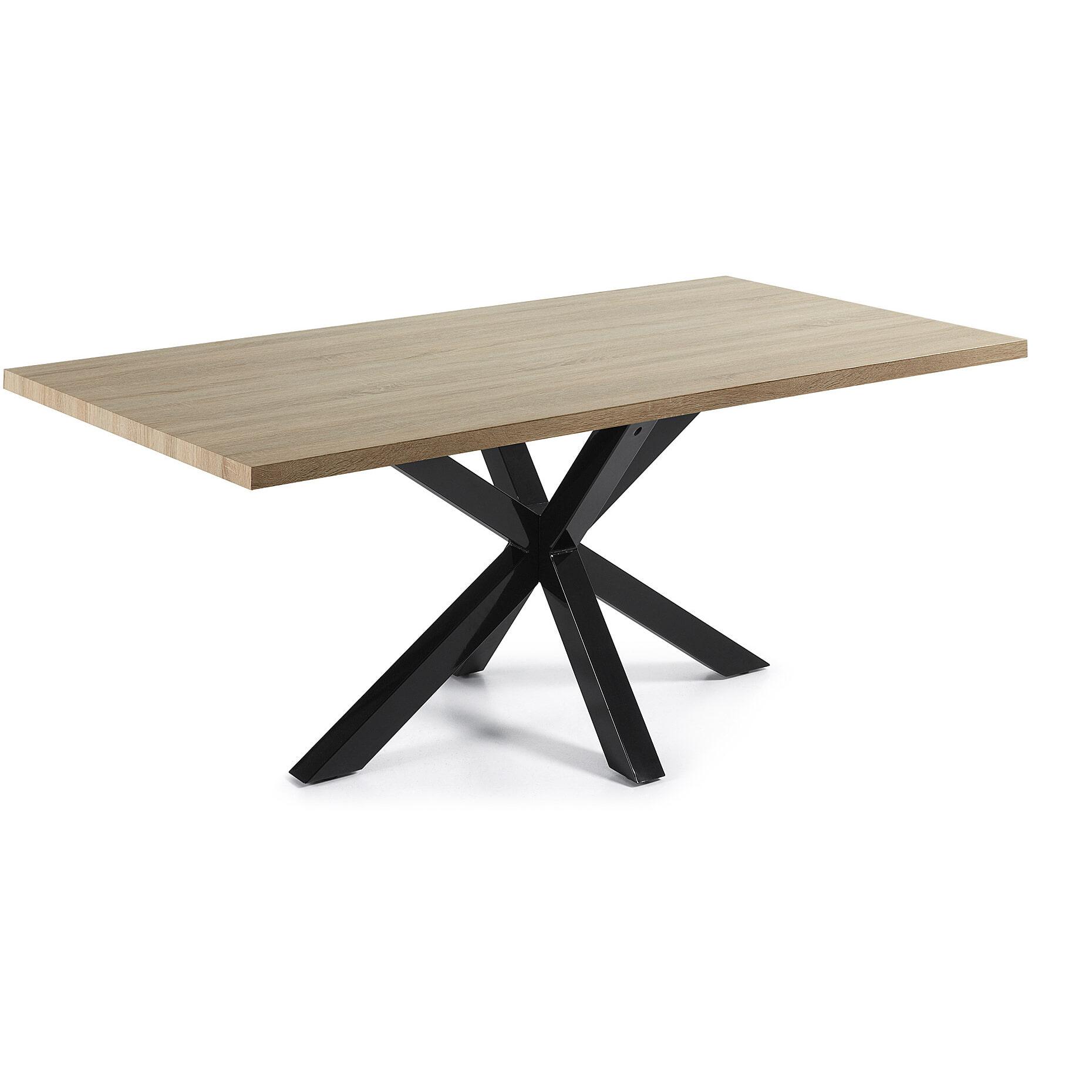 Kave Home Eettafel 'Argo' zwart - hout, 200 x 100cm