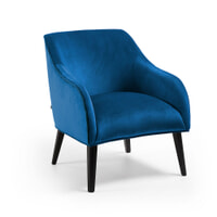 Kave Home Fauteuil 'Bobly' Velvet, kleur Donkerblauw