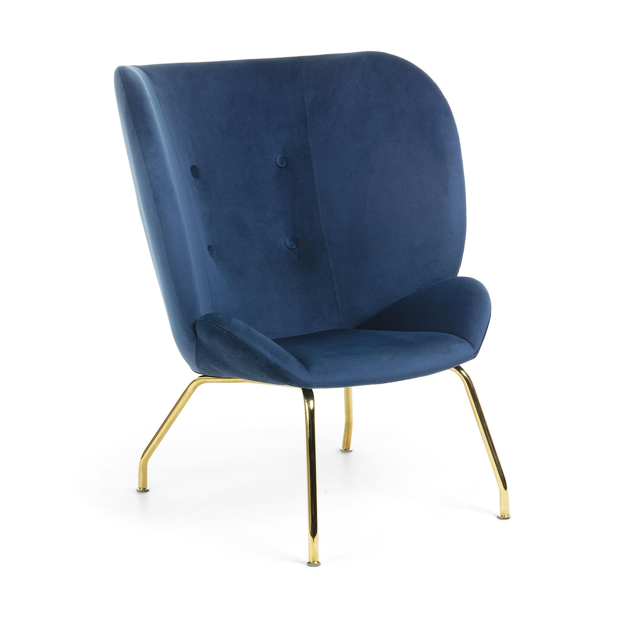 Kave Home Fauteuil 'Violet' Velvet, kleur Donkerblauw