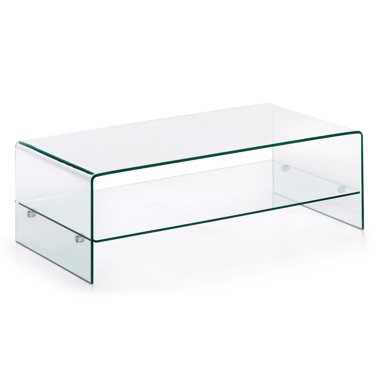 Glas Voor Salontafel.Kave Home Glazen Salontafel Burano Met Onderplank 110 X 55 Cm