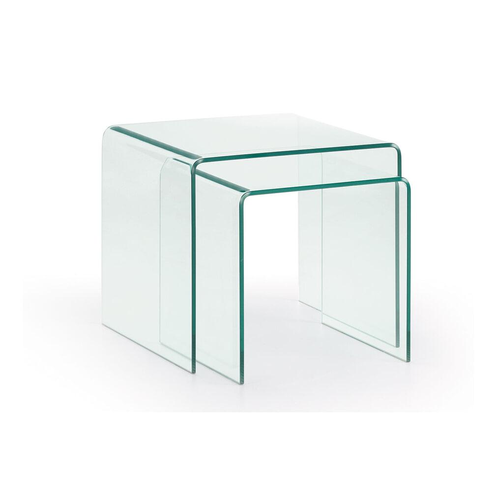 2 Glazen Tafels.Kave Home Glazen Salontafel Burano Set Van 2 Stuks