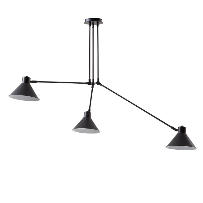 Kave Home Hanglamp 'Dione' 3-lamps, kleur zwart