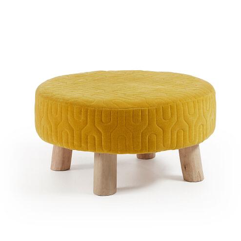 Kave Home Poef 'Jordano' 60cm, kleur geel
