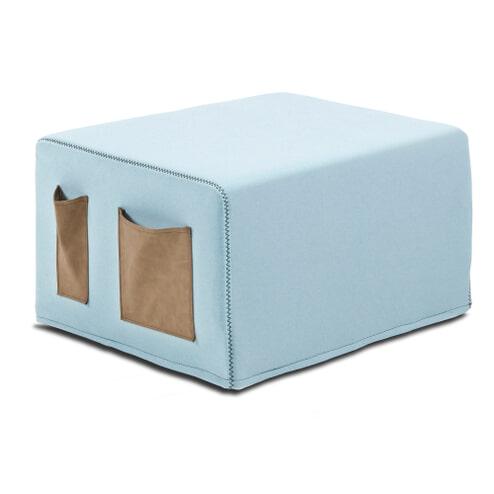 Kave Home Poef / vouwbed 'Verdi', kleur Lichtblauw