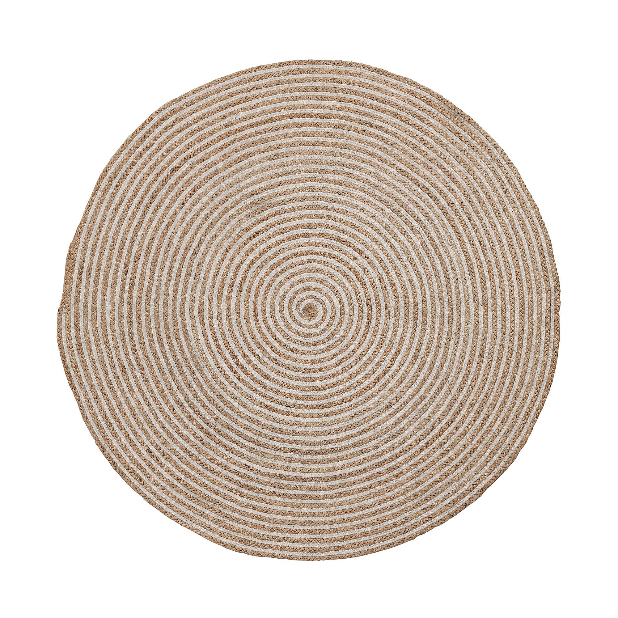Kave Home Rond Vloerkleed 'Saht' 100cm, kleur Naturel/Wit