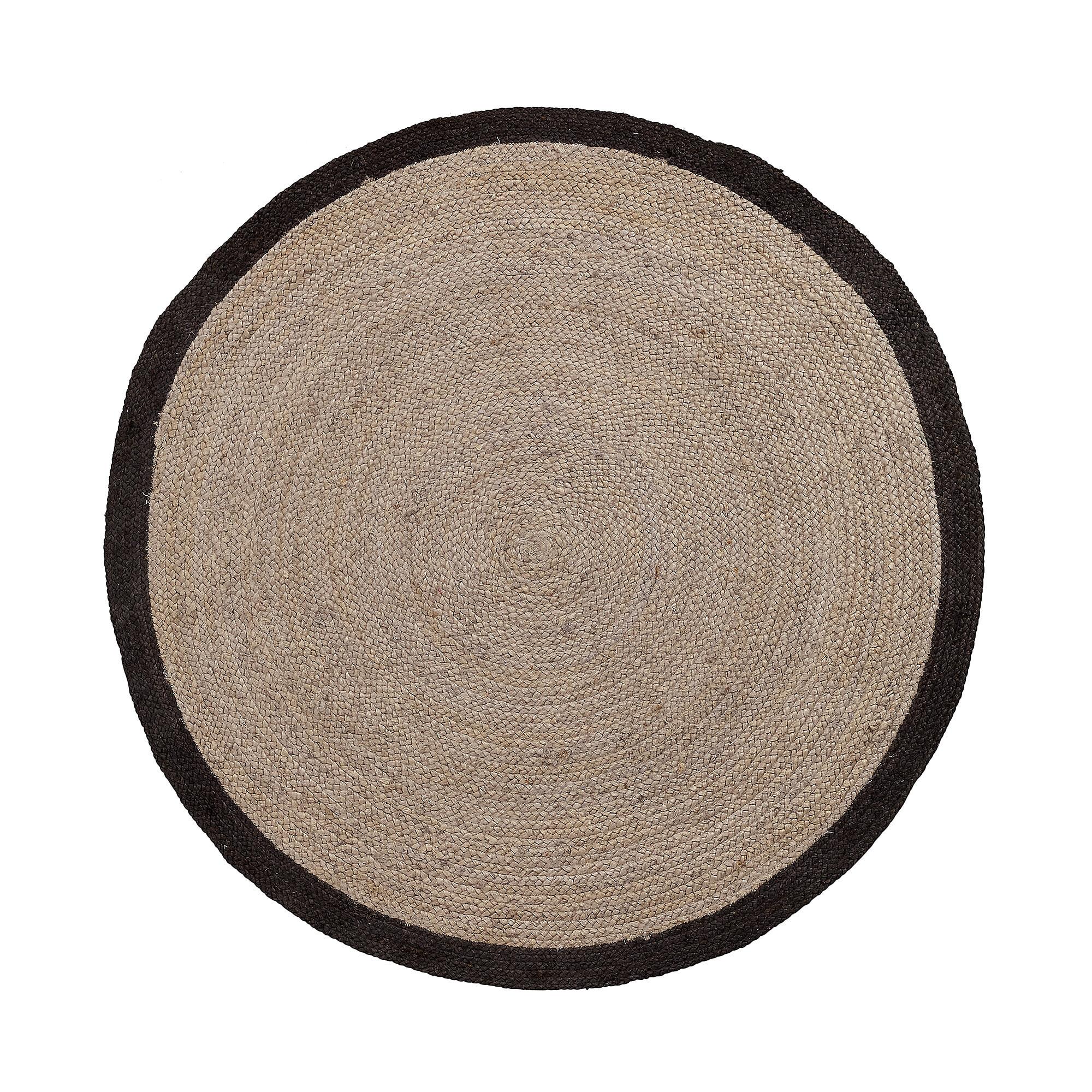 Kave Home rond vloerkleed 'Saht' jute 150cm, kleur zwart Jute aanschaffen? Kijk hier!