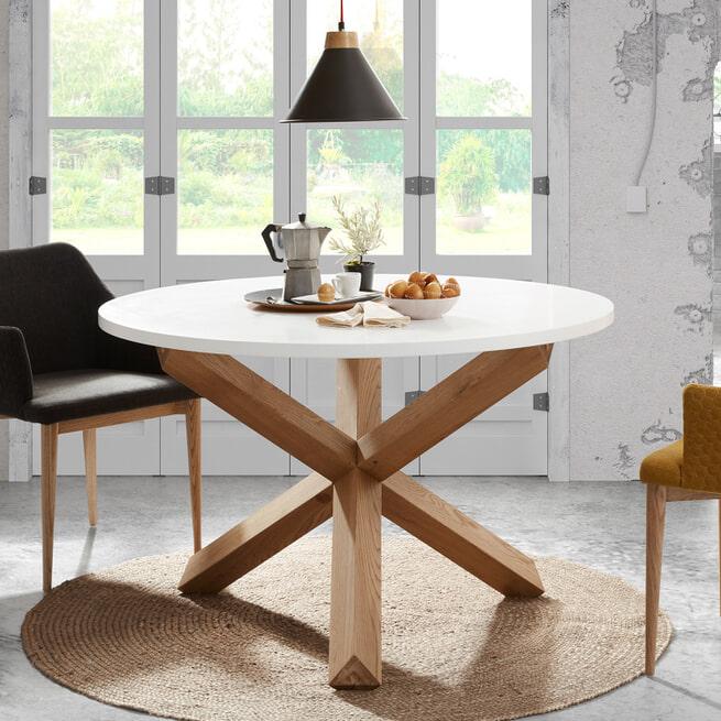 Kave Home Ronde Eettafel 'Lotus' kleur Wit/Eiken