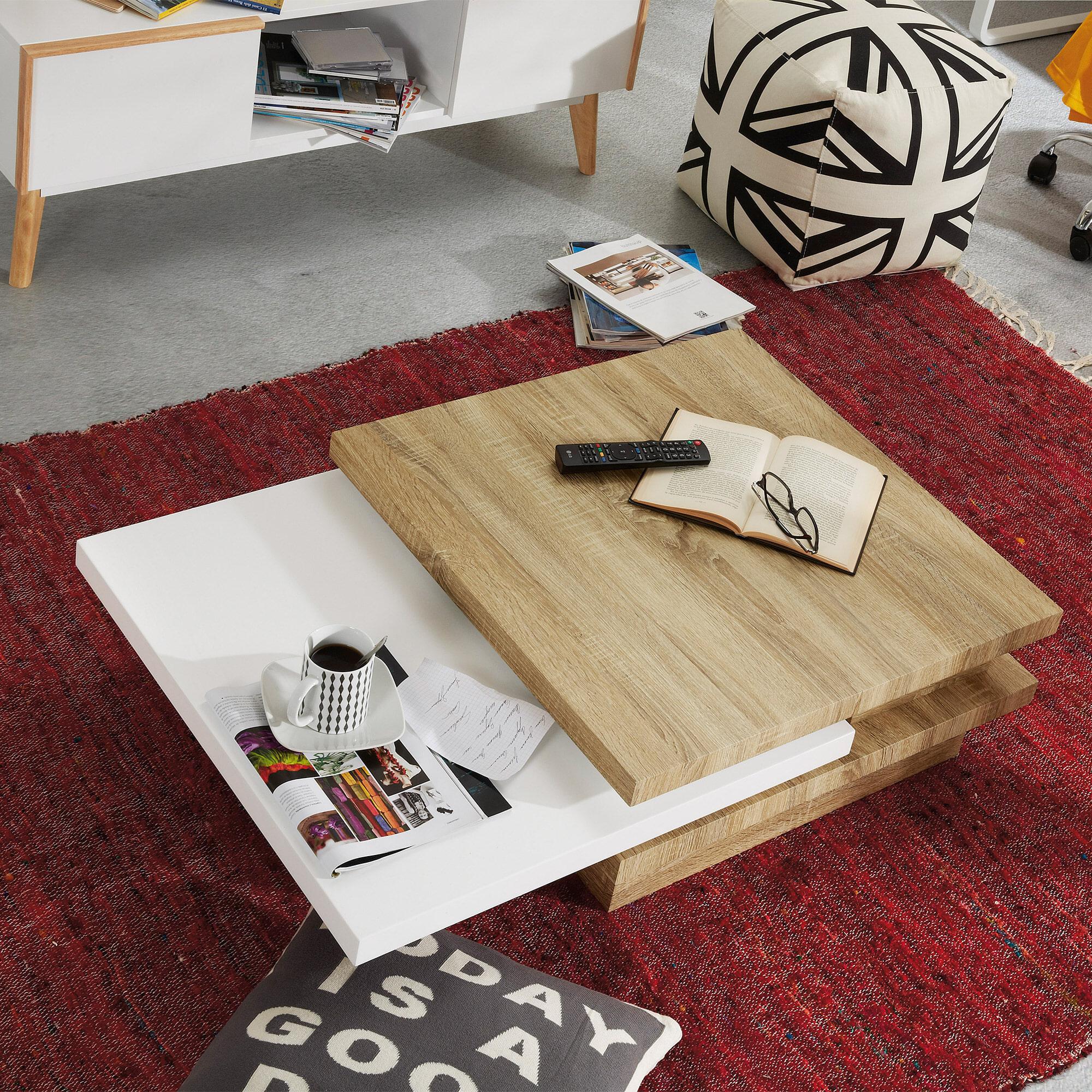 Kave Home salontafel 'Kiu', kleur eiken/wit
