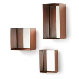 Kave Home Spiegel 'Clifden' set van 3 stuks, kleur koper