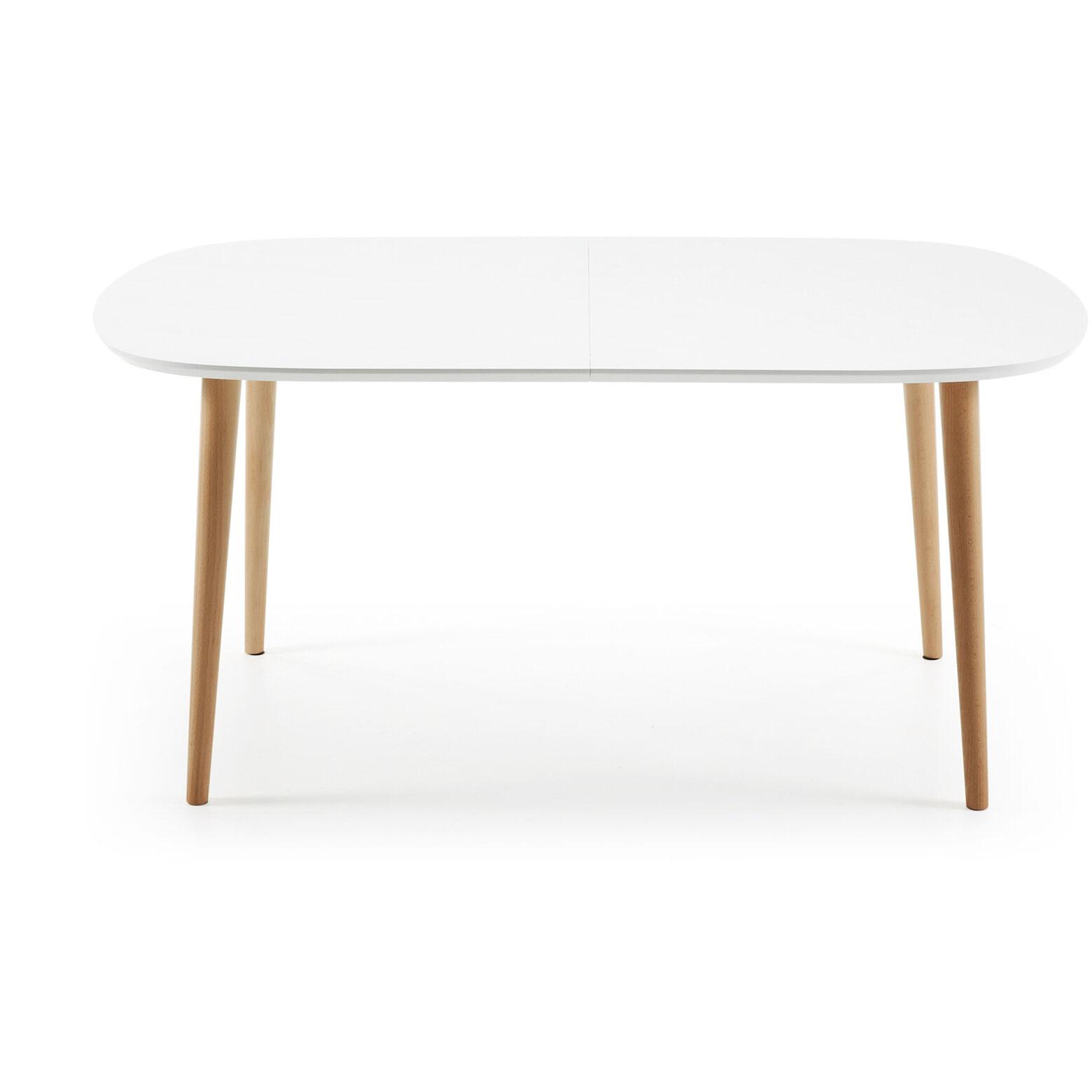 Kave Home Uitschuifbare Ovale Eettafel 'Oqui' 160 - 260 x 100cm, kleur Wit
