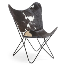 Kave Home Vlinderstoel 'Fly' Koe leder, kleur zwart / wit