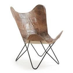 Kave Home Vlinderstoel 'Fly' Leder, kleur bruin