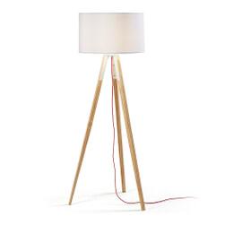 Kave Home Vloerlamp 'Iguazu', houten poot, kleur wit