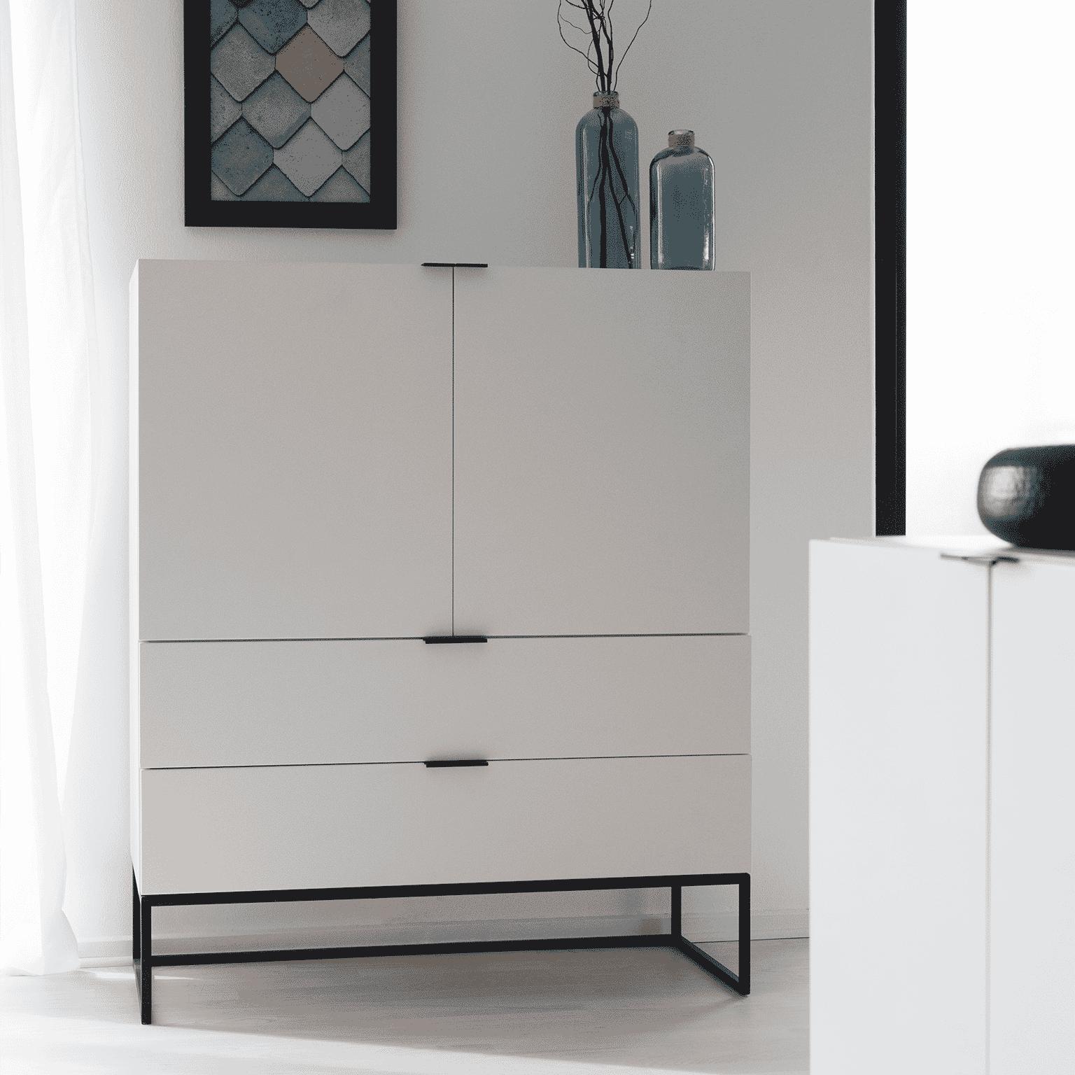 Interstil Opbergkast 'Kobe' 120 x 100cm, kleur wit met voordeel snel in huis via Meubel Partner