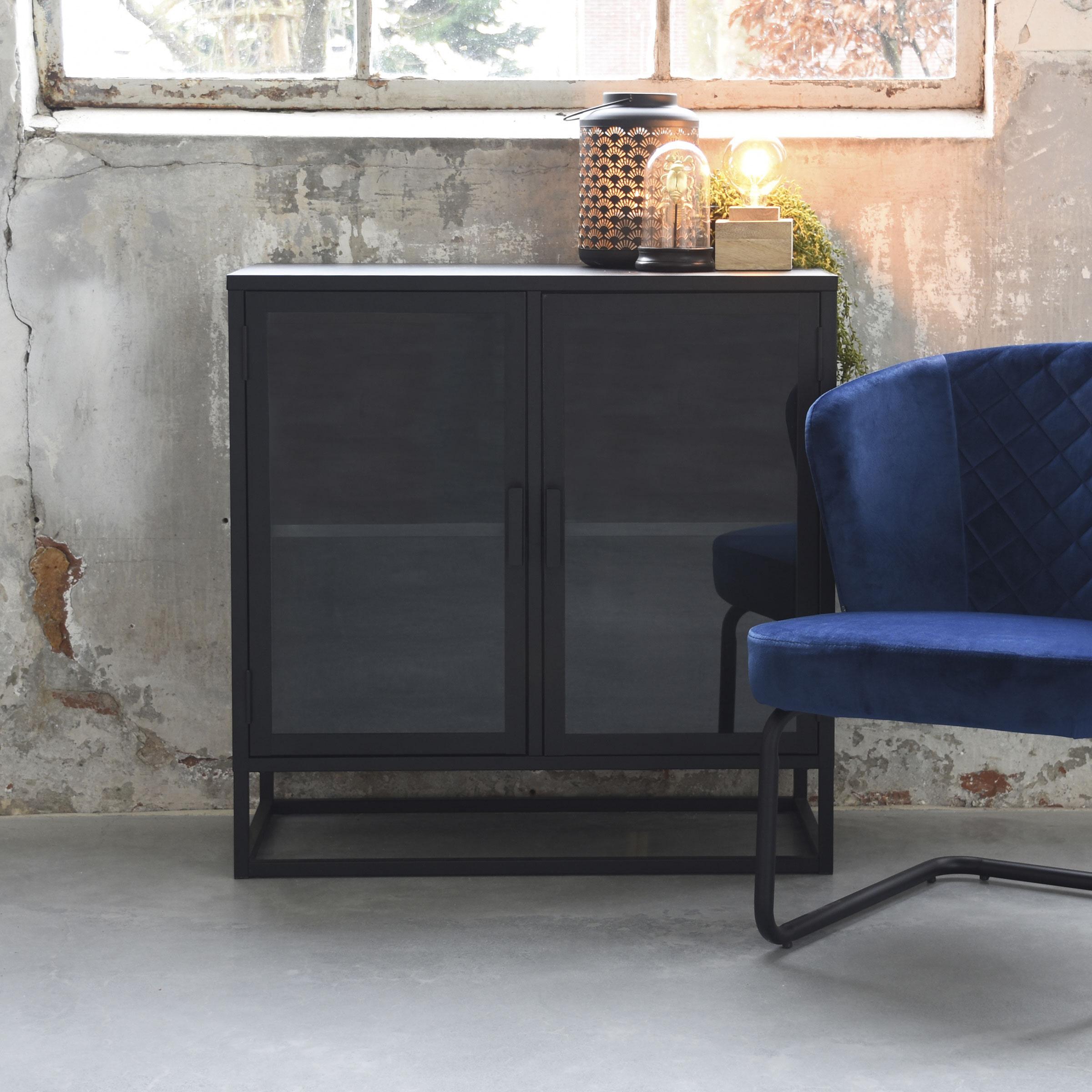 LABEL51 Lage vitrinekast 'Level', Metaal, 85 x 40 x 85cm, kleur Zwart