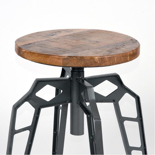 LABEL51 kruk 'Pebble' 35cm, kleur zwart