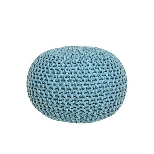 LABEL51 poef 'Gebreid M', kleur Licht Turquoise