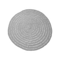 LABEL51 Rond Vloerkleed 'Knitted' 150cm, kleur grijs