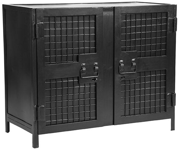 LABEL51 Boekenkast 'Gate', Metaal, 85 x 70 x 40cm, 2 Deurs, kleur Zwart