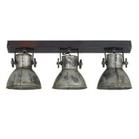 Light & Living Hanglamp 'Elay' 3-Lamps, hout bruin+vintage zilver