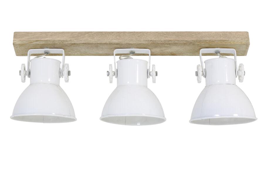 Light & Living Hanglamp 'Elay' 3-Lamps, hout naturel+wit