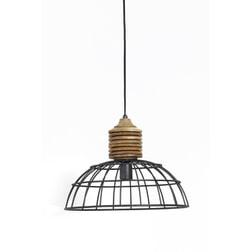 Light & Living Hanglamp 'Gabrielle' 40cm, industrieel grijs kop hout