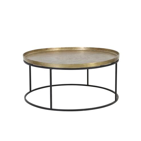 Light & Living Salontafel 'Serena' Ø88x41 cm, antiek koper en mat zwart