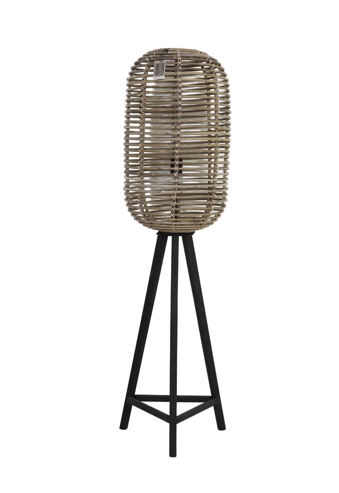 Light & Living Vloerlamp 'Tabana', rotan grijs