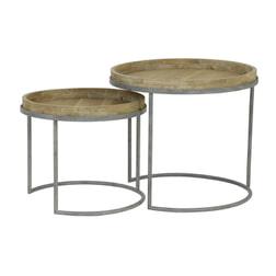Light & Living Bijzettafel 'Copan' Set van 2 stuks, grijs+hout