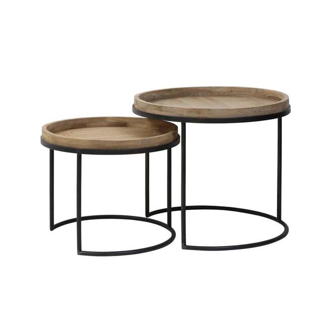 Light & Living Bijzettafel 'Copan' Set van 2 stuks, zwart+hout
