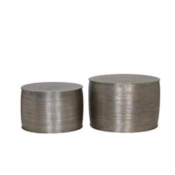 Light & Living Bijzettafel 'Orne' Set van 2 stuks +50x33 cm, alum.antiek zilver