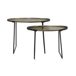 Light & Living Bijzettafel 'Roja' Set van 2 stuks max, ruw ant brons-mat zwart