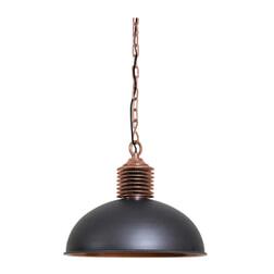 Light & Living Hanglamp 'Amely' 52cm, industrieel grijs/antiek koper