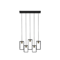 Light & Living Hanglamp 'Divera' 5-Lamps, mat zwart